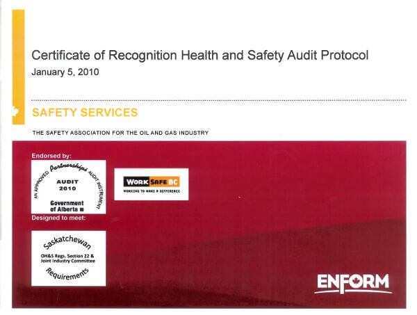 Certificate of Recognition Health and Safety Audit Protocol
