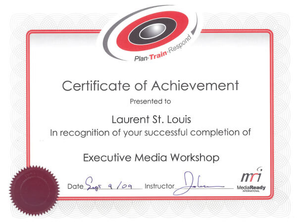 Laurent St. Louis Executive Media Workshop Certificate