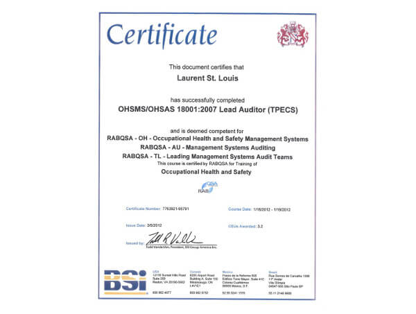Laurent St. Louis OHSMS/OHSAS 18001:2007 Lead Auditor (TPECS) Certificate