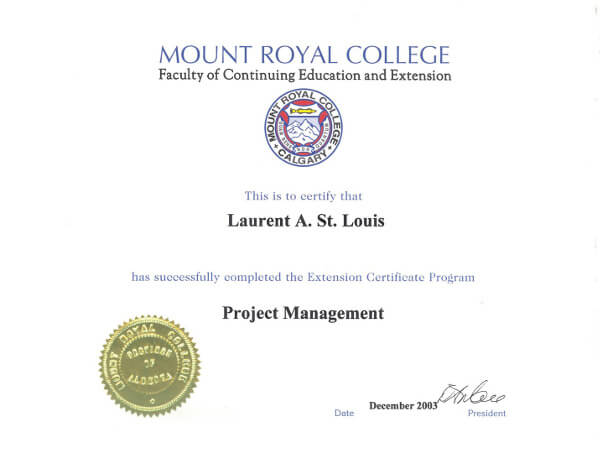 Laurent St. Louis Project Management Certificate