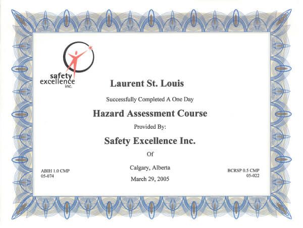 Laurent St. Louis Hazard Assessment Course Certificate