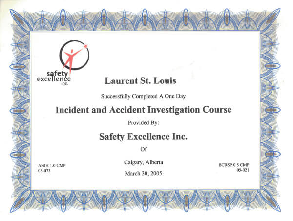 Laurent St. Louis Incident and Accident Investigation Course Certificate