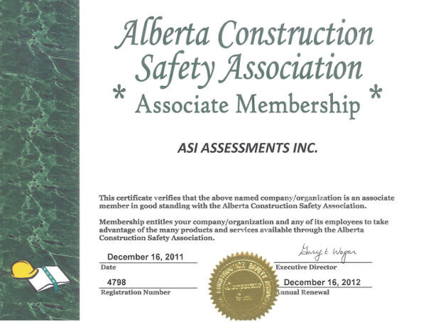 Alberta Construction Safety Association Associate Membership Certificate