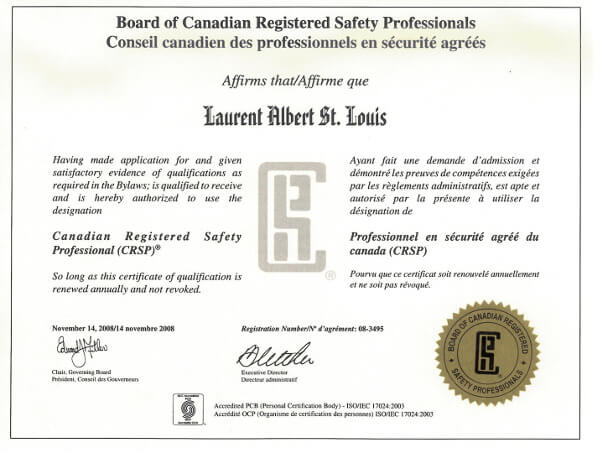 Laurent St. Louis Canadian Registered Safety Professional (SRSP) Certificate